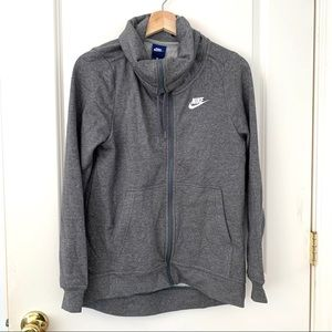 Nike Heather Gray Funnel Zip Logo Jacket